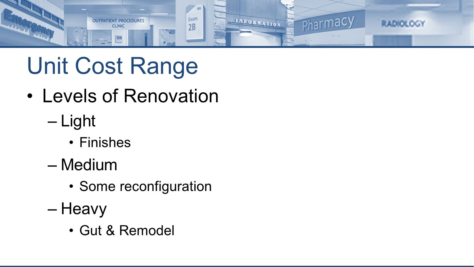 Unit Cost Range Levels of Renovation –Light Finishes –Medium Some reconfiguration –Heavy Gut & Remodel
