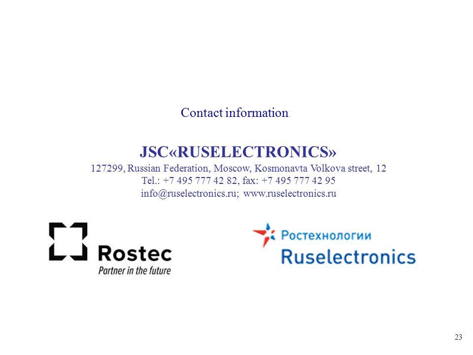 23 JSC«RUSELECTRONICS» 127299, Russian Federation, Moscow, Kosmonavta Volkova street, 12 Tel.: +7 495 777 42 82, fax: +7 495 777 42 95 info@ruselectro