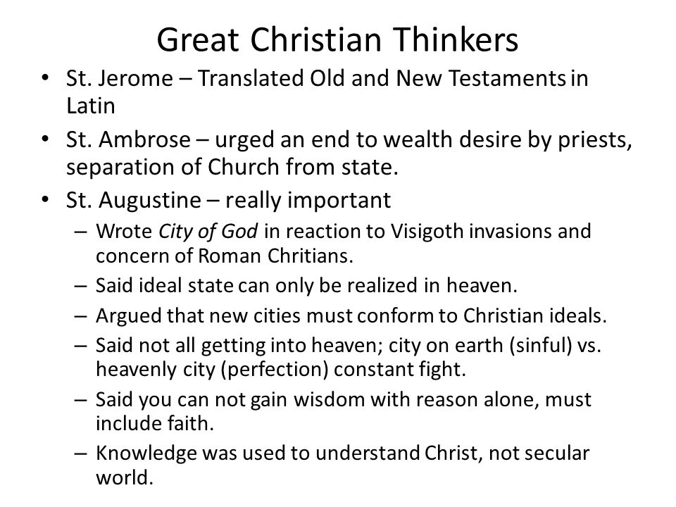Great Christian Thinkers St. Jerome – Translated Old and New Testaments in Latin St.