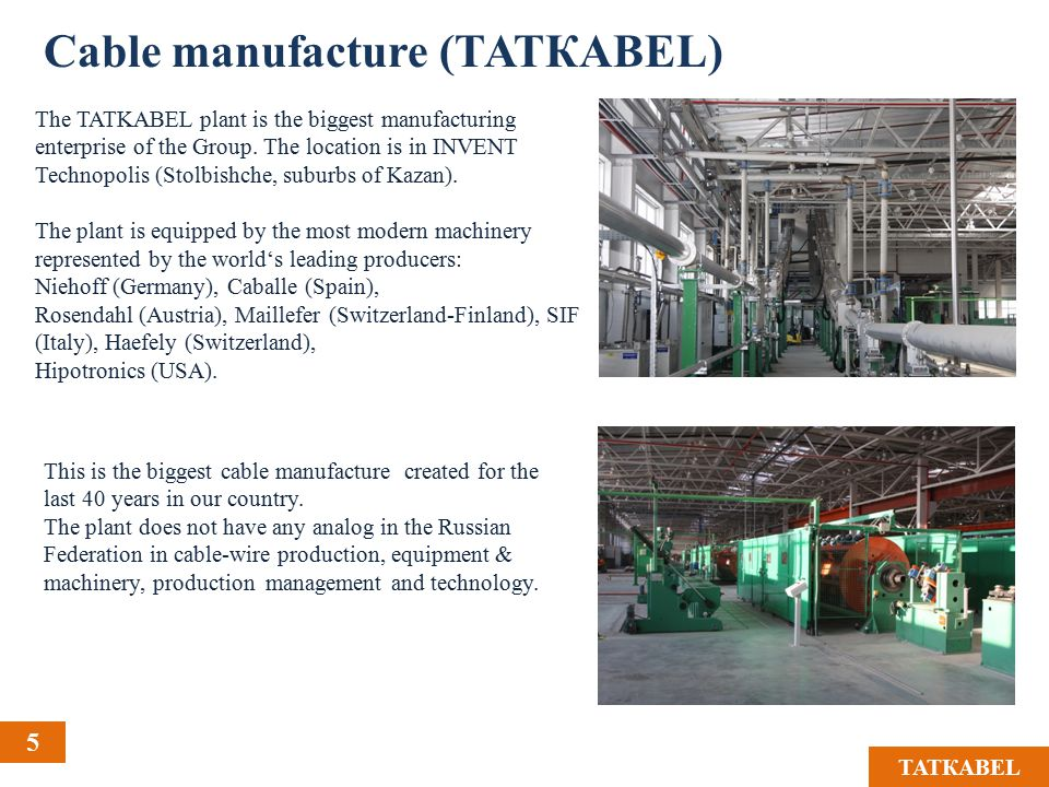 5 ТАТКАBЕL The TATKABEL plant is the biggest manufacturing enterprise of the Group.