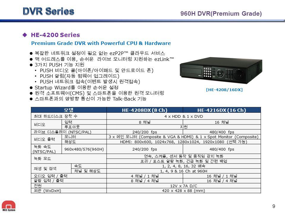 960H DVR(Premium Grade)  HE-4200 Series 복잡한 네트워크 설정이 필요 없는 ezP2P™ 클라우드 서비스 맥 어드레스를 이용, 손쉬운 라이브 모니터링 지원하는 ezLink™ 3 가지 PUSH 기능 지원 PUSH 비디오 콜 ( 아이폰 / 아