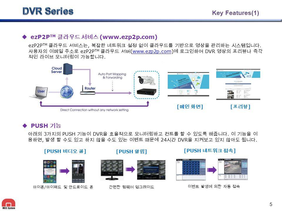Key Features(1)  ezP2P TM 클라우드 서비스 (www.ezp2p.com) ezP2P TM 클라우드 서비스는, 복잡한 네트워크 설정 없이 클라우드를 기반으로 영상을 관리하는 시스템입니다. 사용자의 이메일 주소로 ezP2P TM 클라우드 서버 (www.