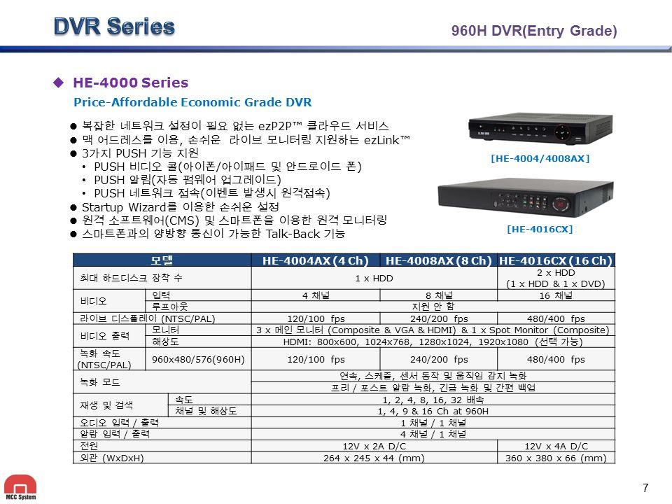 960H DVR(Entry Grade)  HE-4000 Series 복잡한 네트워크 설정이 필요 없는 ezP2P™ 클라우드 서비스 맥 어드레스를 이용, 손쉬운 라이브 모니터링 지원하는 ezLink™ 3 가지 PUSH 기능 지원 PUSH 비디오 콜 ( 아이폰 / 아이패