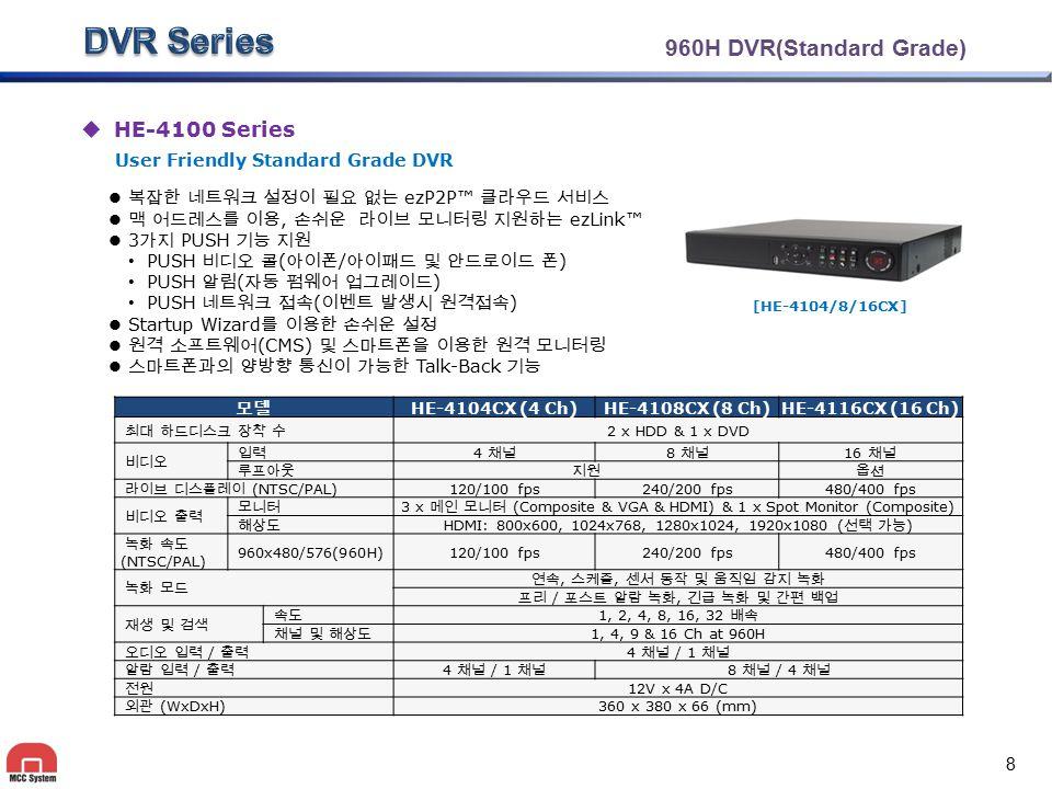 960H DVR(Standard Grade)  HE-4100 Series 복잡한 네트워크 설정이 필요 없는 ezP2P™ 클라우드 서비스 맥 어드레스를 이용, 손쉬운 라이브 모니터링 지원하는 ezLink™ 3 가지 PUSH 기능 지원 PUSH 비디오 콜 ( 아이폰 /