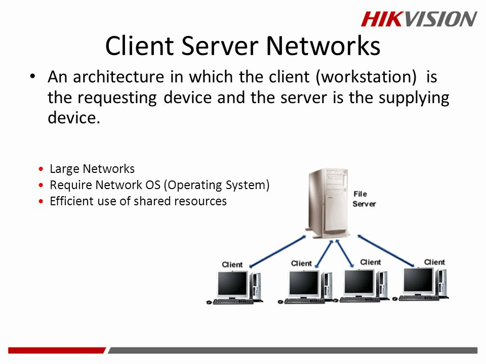 Client Server Networks An architecture in which the client (workstation) is the requesting device and the server is the supplying device. Large Networ