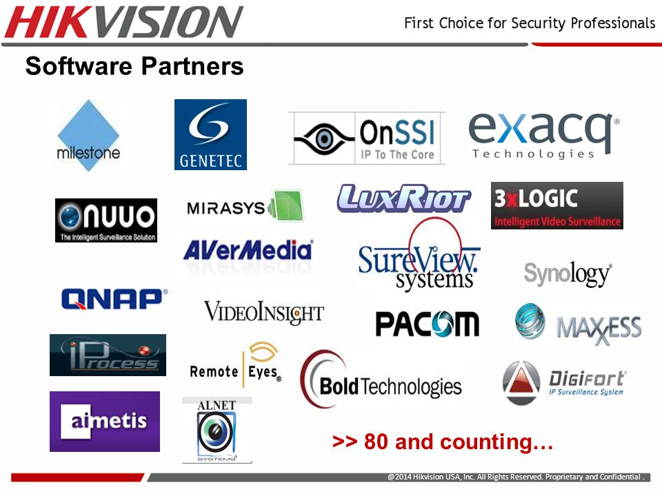 @2014 Hikvision USA, Inc. All Rights Reserved. Proprietary and Confidential. Software Partners >> 80 and counting…