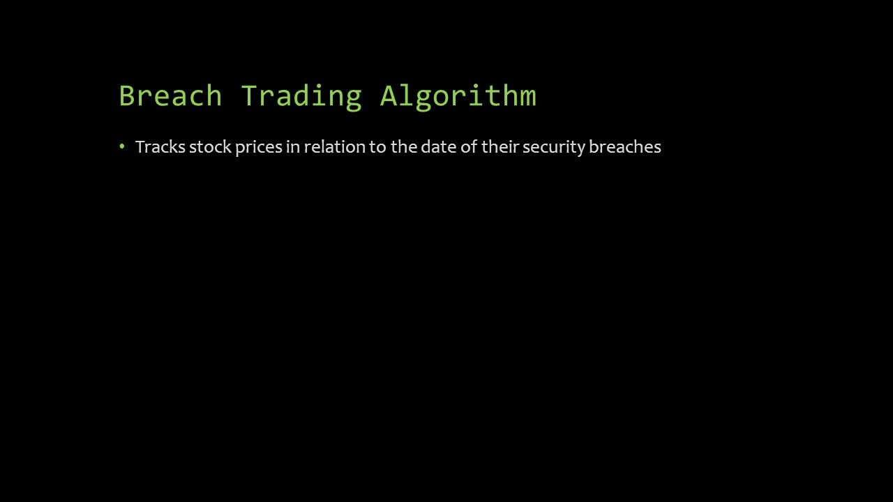 Breach Trading Algorithm Tracks stock prices in relation to the date of their security breaches
