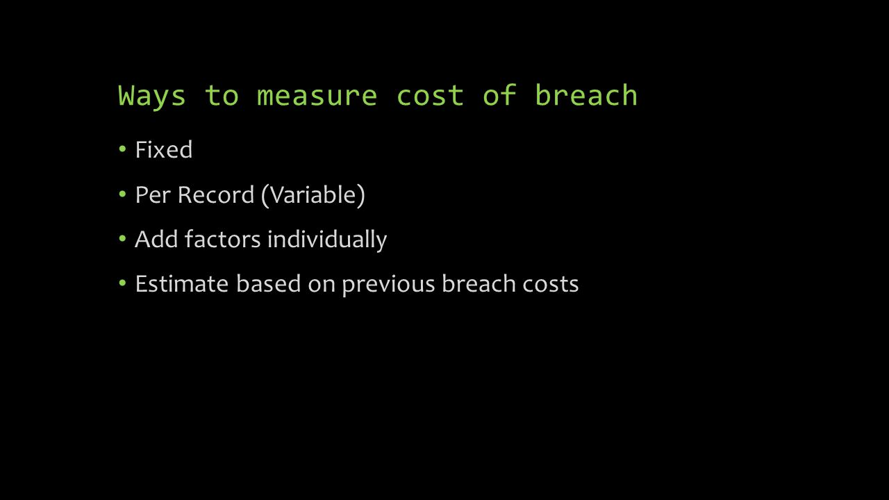 Ways to measure cost of breach Fixed Per Record (Variable) Add factors individually Estimate based on previous breach costs