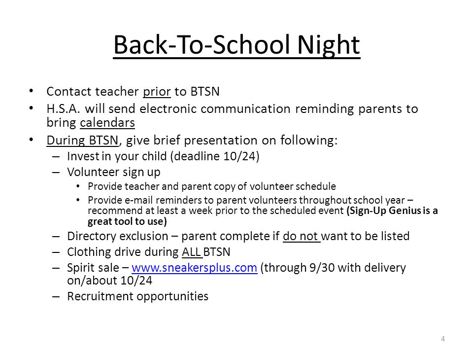 Back-To-School Night Contact teacher prior to BTSN H.S.A.