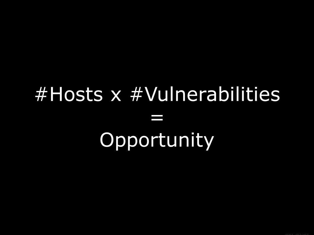 #Hosts x #Vulnerabilities = Opportunity