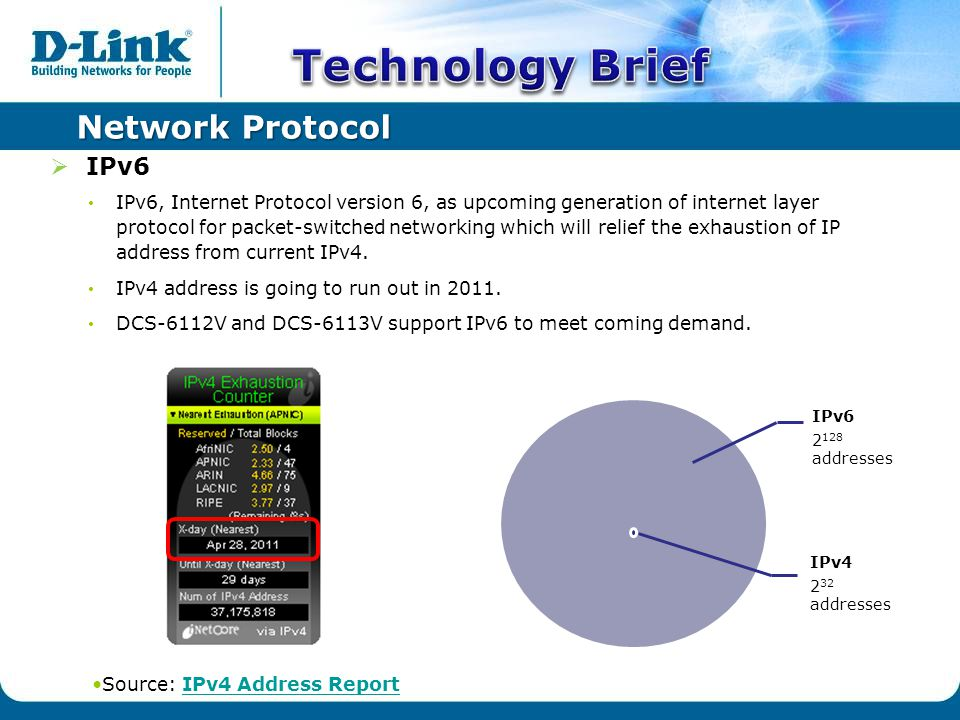Network Protocol  IPv6 IPv6, Internet Protocol version 6, as upcoming generation of internet layer protocol for packet-switched networking which will relief the exhaustion of IP address from current IPv4.