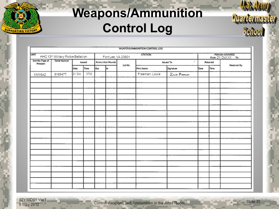 92Y10D01 Ver3 8 May 2012 Slide 35 Control Weapons and Ammunition in the Arms Room Weapons/Ammunition Control Log HHC 13 th Military Police Battalion F