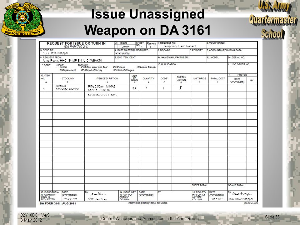 92Y10D01 Ver3 8 May 2012 Slide 36 Control Weapons and Ammunition in the Arms Room Issue Unassigned Weapon on DA 3161 1SG Dave Knepper Arms Room, HHC 1