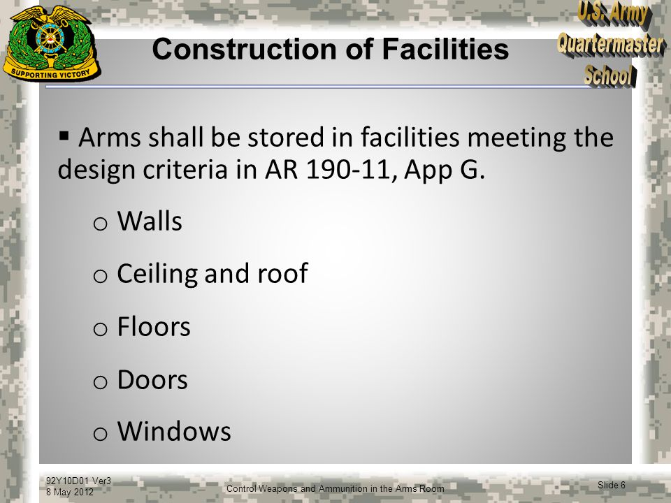 92Y10D01 Ver3 8 May 2012 Slide 17 Control Weapons and Ammunition in the Arms Room Privately-Owned Weapons and Ammunition  Commanders will establish procedures and publicize punitive policies that regulate privately-owned weapons, explosives, or ammunition to include war trophies.