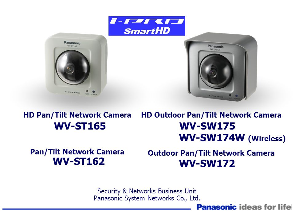 HD Pan/Tilt Network Camera WV-ST165 Pan/Tilt Network Camera WV-ST162 HD Outdoor Pan/Tilt Network Camera WV-SW175 WV-SW174W (Wireless) Outdoor Pan/Tilt