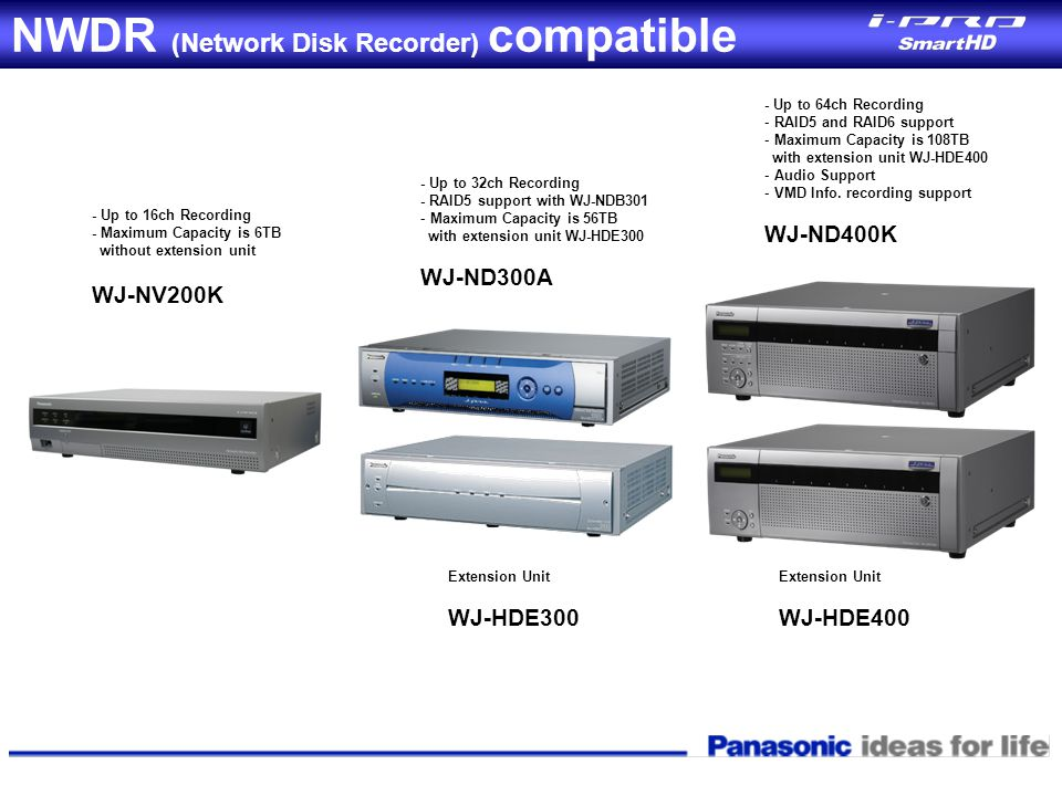 NWDR (Network Disk Recorder) compatible - Up to 32ch Recording - RAID5 support with WJ-NDB301 - Maximum Capacity is 56TB with extension unit WJ-HDE300
