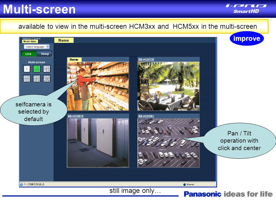Multi-screen available to view in the multi-screen HCM3xx and HCM5xx in the multi-screen Pan / Tilt operation with click and center still image only…