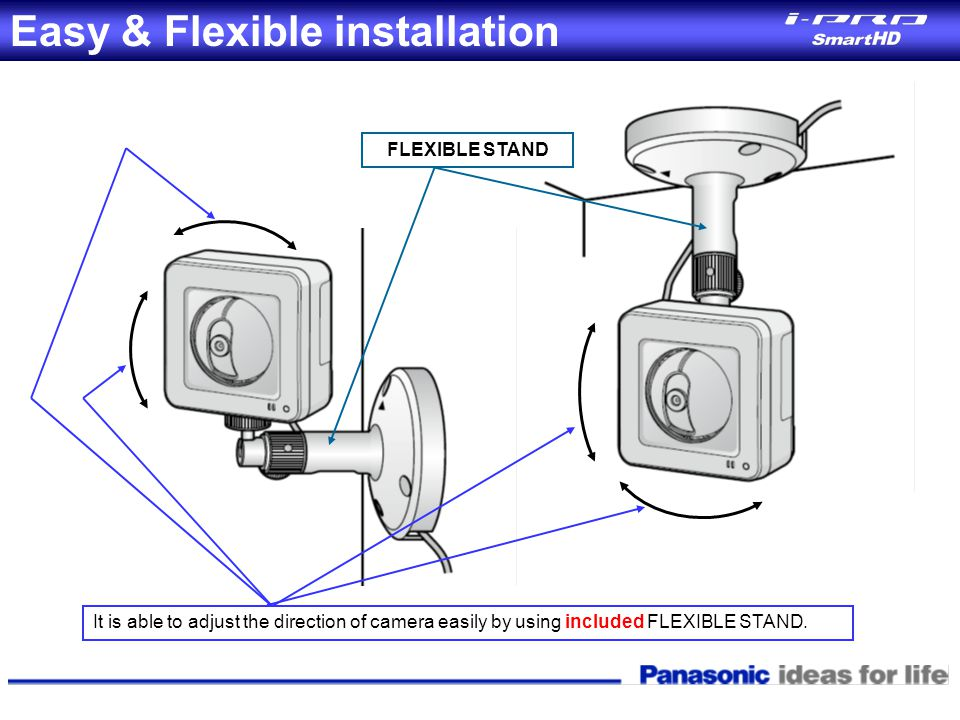 FLEXIBLE STAND It is able to adjust the direction of camera easily by using included FLEXIBLE STAND. Easy & Flexible installation