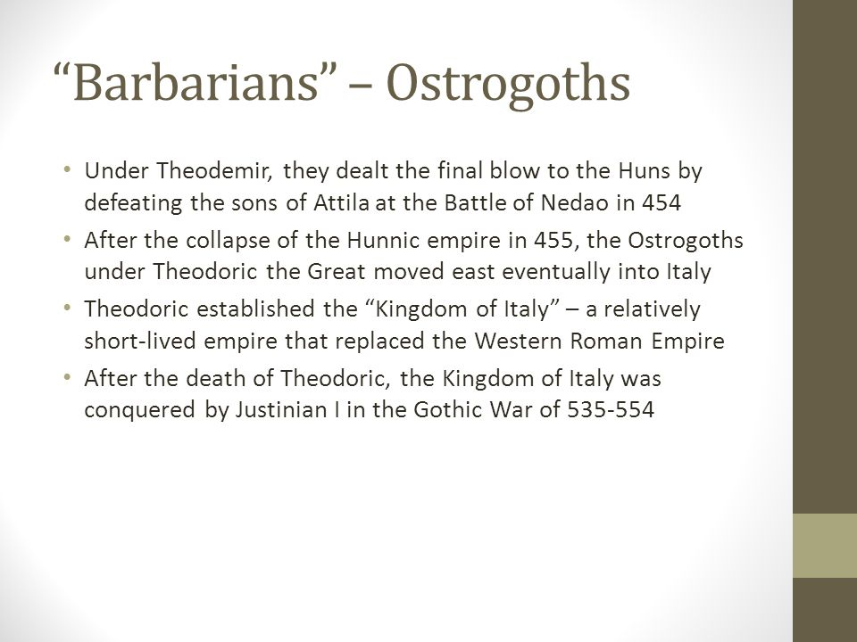Barbarians – The Vandals Vandals: East Germanic tribe that entered the Roman empire in the 5 th century Under King Genseric, the Vandals entered N.