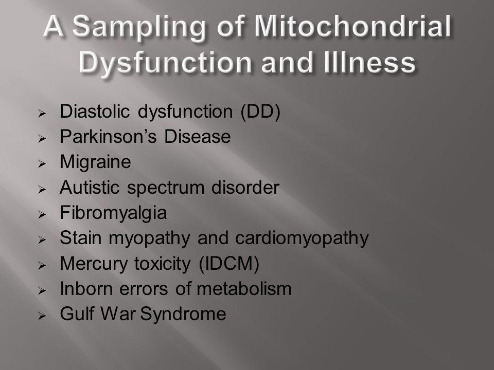  Diastolic dysfunction (DD)  Parkinson's Disease  Migraine  Autistic spectrum disorder  Fibromyalgia  Stain myopathy and cardiomyopathy  Mercur