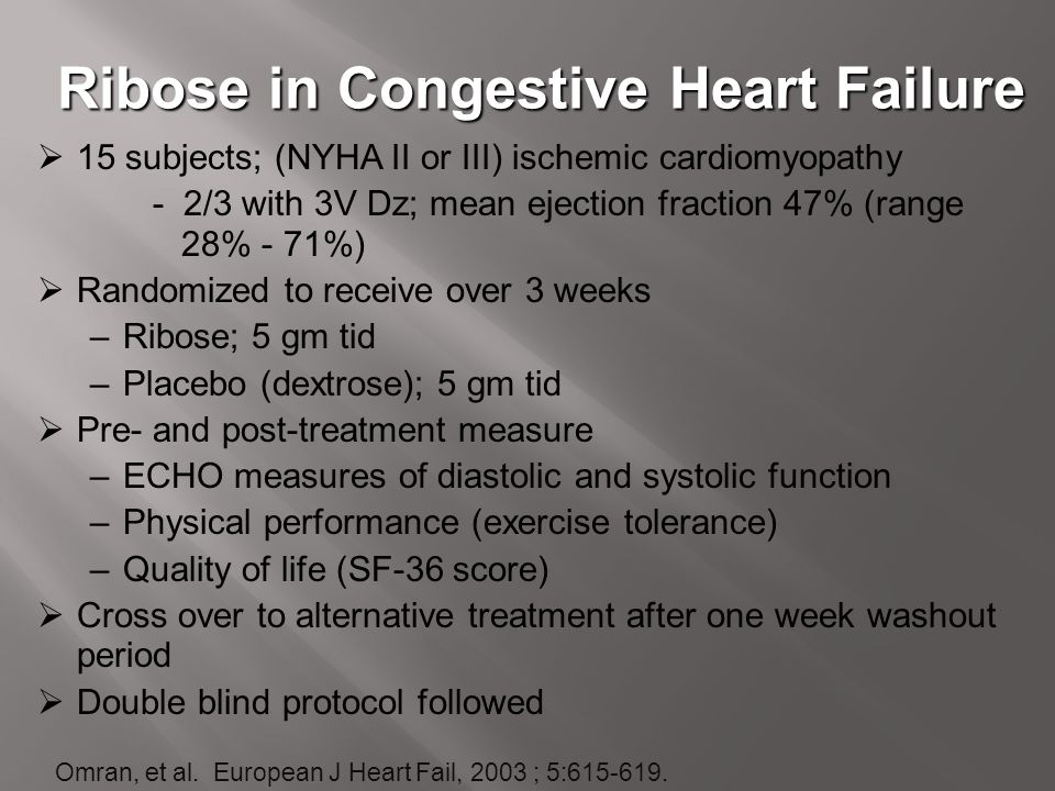 Ribose in Congestive Heart Failure  15 subjects; (NYHA II or III) ischemic cardiomyopathy - 2/3 with 3V Dz; mean ejection fraction 47% (range 28% - 7