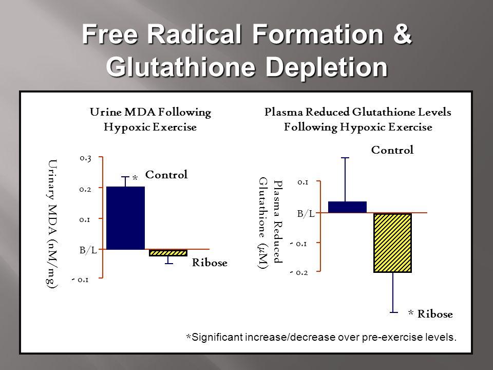 Free Radical Formation & Glutathione Depletion Urine MDA Following Hypoxic Exercise Urinary MDA (nM/mg) 0.3 0.2 0.1 B/L - 0.1 Control Ribose * Plasma