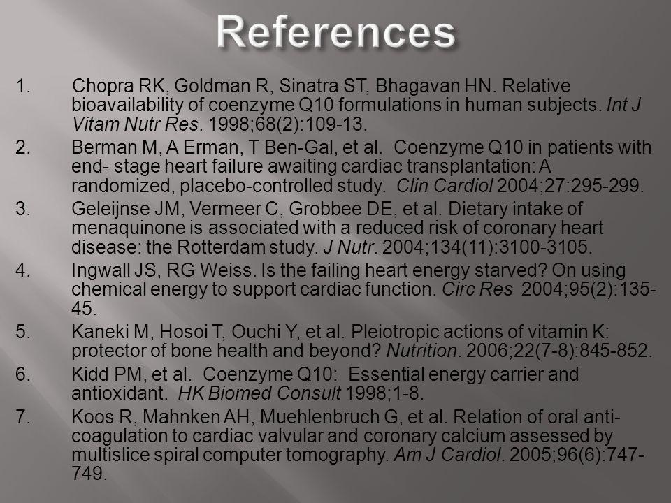 1. Chopra RK, Goldman R, Sinatra ST, Bhagavan HN. Relative bioavailability of coenzyme Q10 formulations in human subjects. Int J Vitam Nutr Res. 1998;