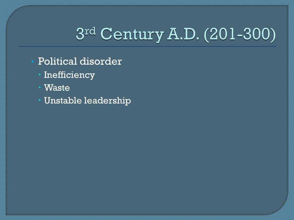 Political disorder  Inefficiency  Waste  Unstable leadership