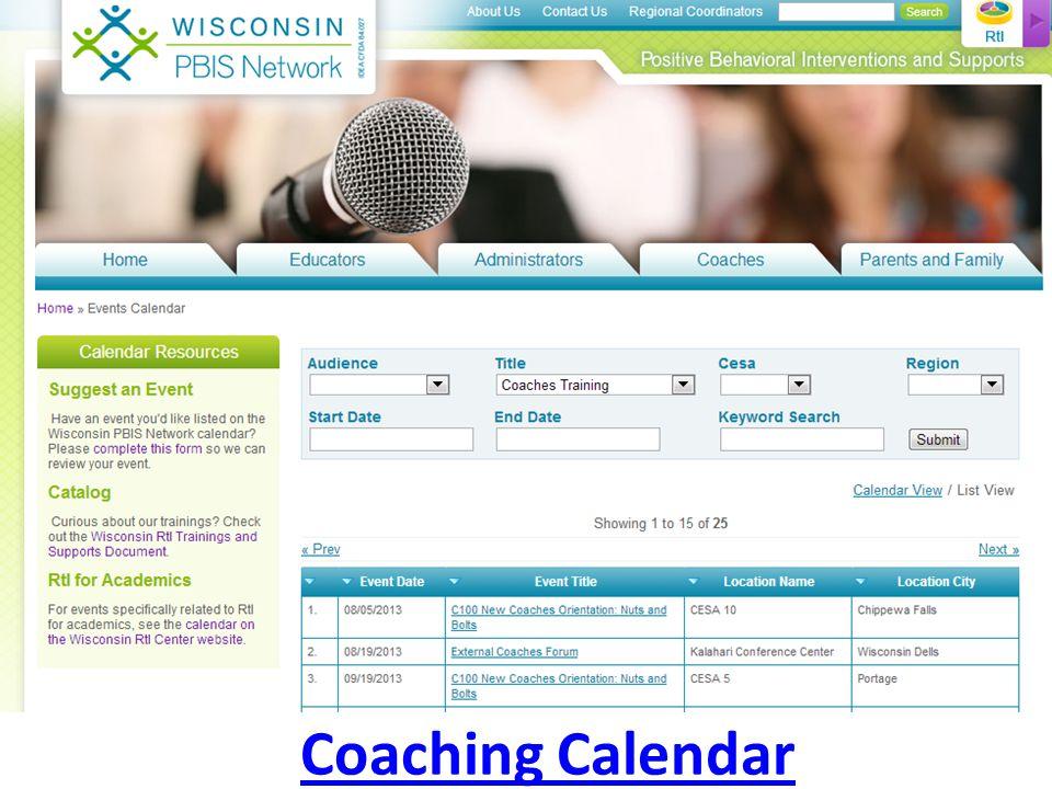 Coaching Calendar