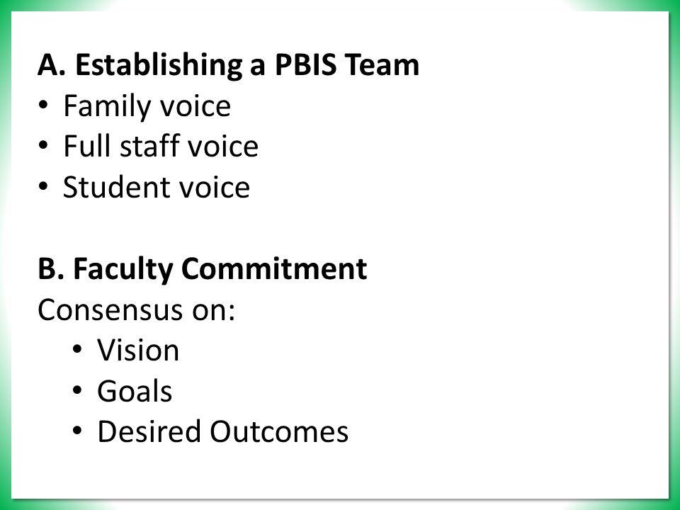 A. Establishing a PBIS Team Family voice Full staff voice Student voice B.