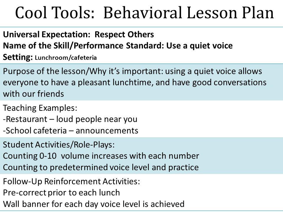 Cool Tools: Behavioral Lesson Plan Universal Expectation: Respect Others Name of the Skill/Performance Standard: Use a quiet voice Setting: Lunchroom/cafeteria Purpose of the lesson/Why it's important: using a quiet voice allows everyone to have a pleasant lunchtime, and have good conversations with our friends Teaching Examples: -Restaurant – loud people near you -School cafeteria – announcements Student Activities/Role-Plays: Counting 0-10 volume increases with each number Counting to predetermined voice level and practice Follow-Up Reinforcement Activities: Pre-correct prior to each lunch Wall banner for each day voice level is achieved