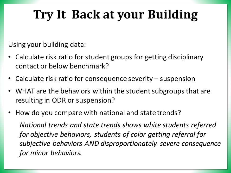 TEAM TIME – T Y IT… Try It Back at your Building Using your building data: Calculate risk ratio for student groups for getting disciplinary contact or below benchmark.
