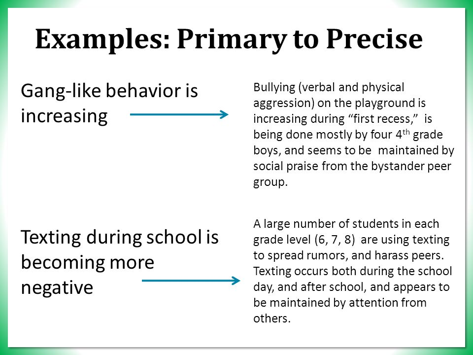 Examples: Primary to Precise Gang-like behavior is increasing Texting during school is becoming more negative Bullying (verbal and physical aggression) on the playground is increasing during first recess, is being done mostly by four 4 th grade boys, and seems to be maintained by social praise from the bystander peer group.