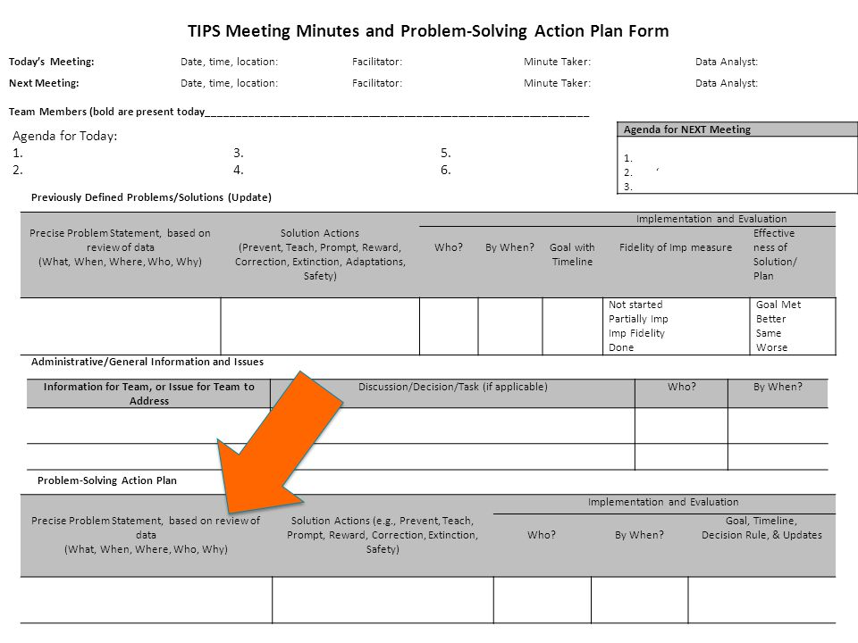 TIPS Meeting Minutes and Problem-Solving Action Plan Form Today's Meeting: Date, time, location: Facilitator: Minute Taker:Data Analyst: Next Meeting:Date, time, location: Facilitator: Minute Taker:Data Analyst: Team Members (bold are present today________________________________________________________________ Information for Team, or Issue for Team to Address Discussion/Decision/Task (if applicable)Who By When.