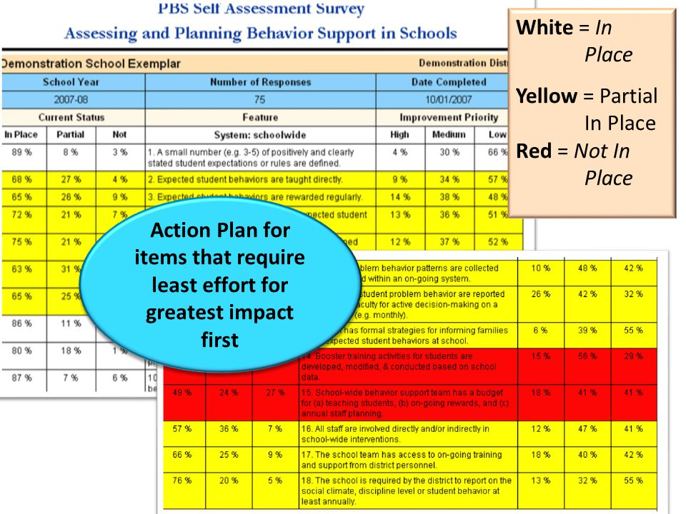White = In Place Yellow = Partial In Place Red = Not In Place Action Plan for items that require least effort for greatest impact first Action Plan for items that require least effort for greatest impact first