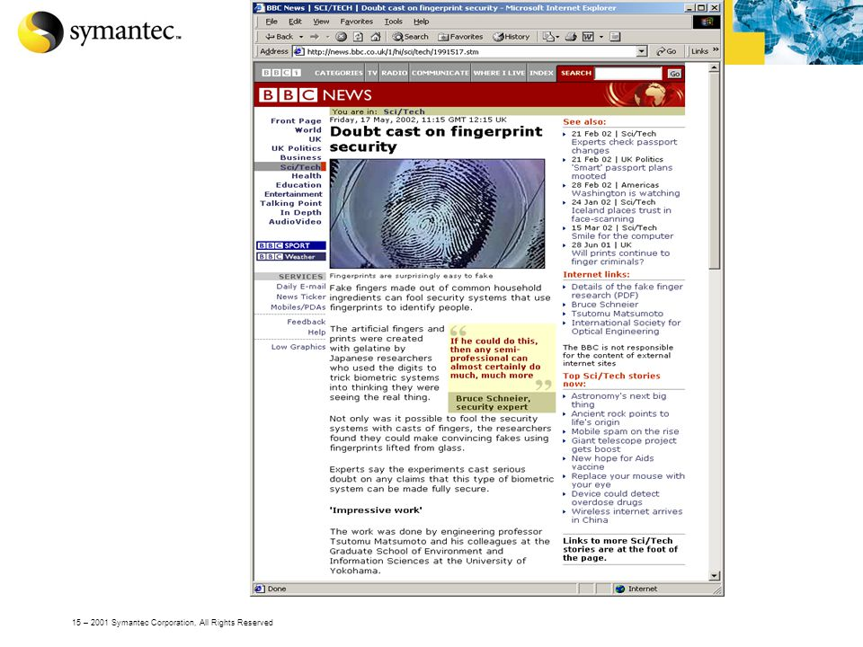 15 – 2001 Symantec Corporation, All Rights Reserved