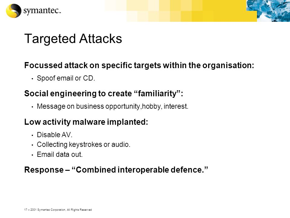 17 – 2001 Symantec Corporation, All Rights Reserved Targeted Attacks Focussed attack on specific targets within the organisation: Spoof email or CD. S