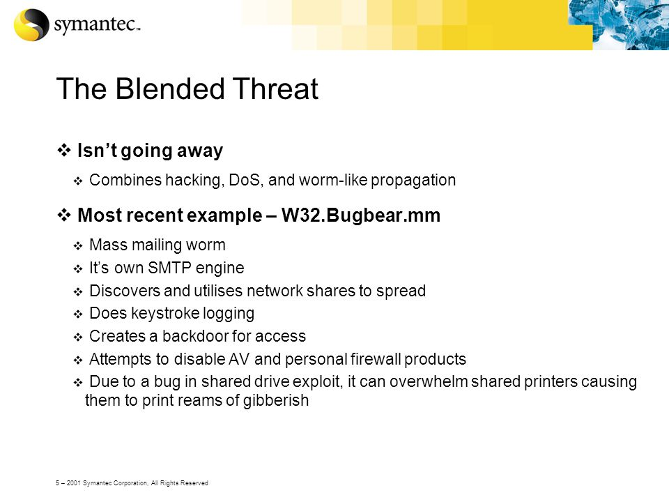 5 – 2001 Symantec Corporation, All Rights Reserved The Blended Threat  Isn't going away  Combines hacking, DoS, and worm-like propagation  Most rec