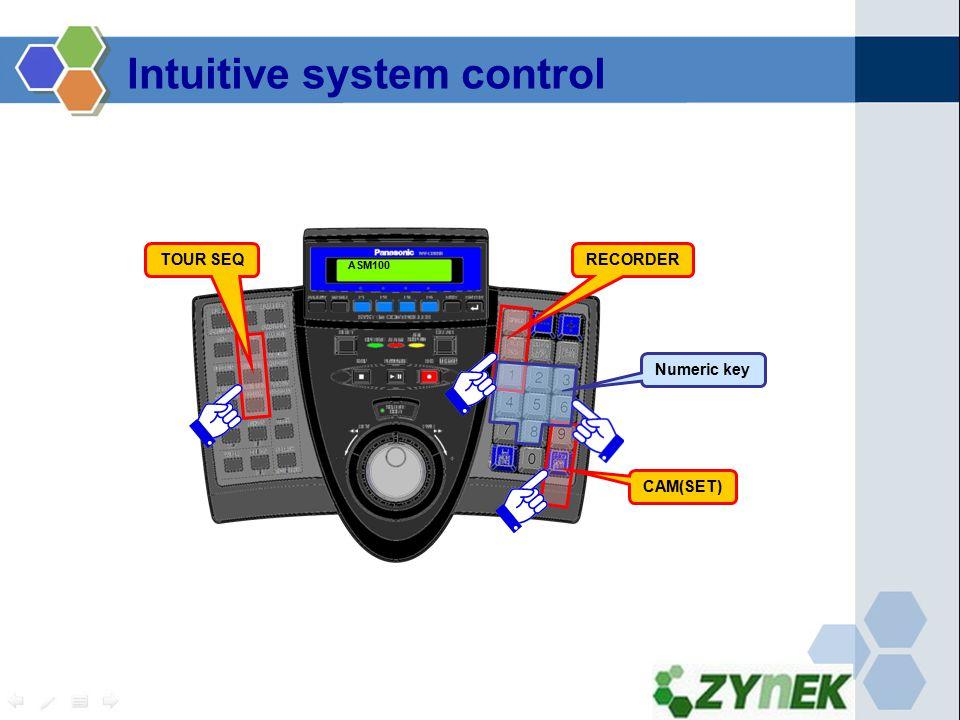 CAM(SET) RECORDERTOUR SEQ Numeric key ASM100 Intuitive system control