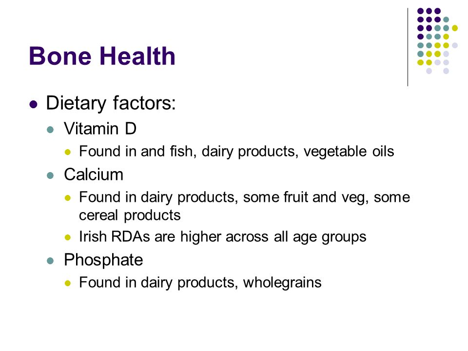 Bone Health Dietary factors: Vitamin D Found in and fish, dairy products, vegetable oils Calcium Found in dairy products, some fruit and veg, some cer