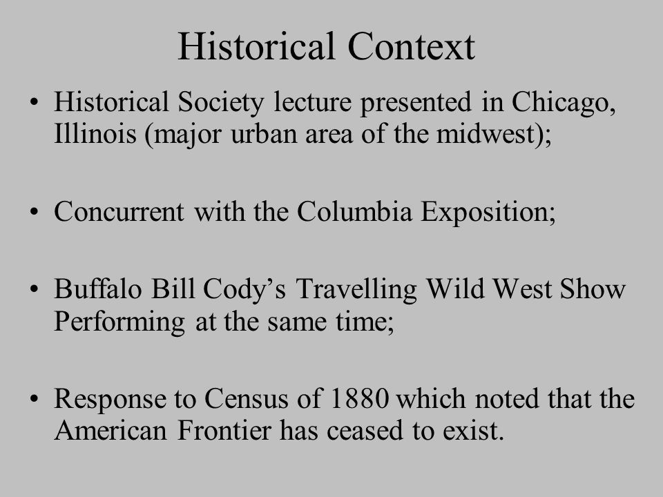 """Frederick Jackson Turner's Frontier Thesis """"The Significance of the Frontier in American History"""" (1883)"""