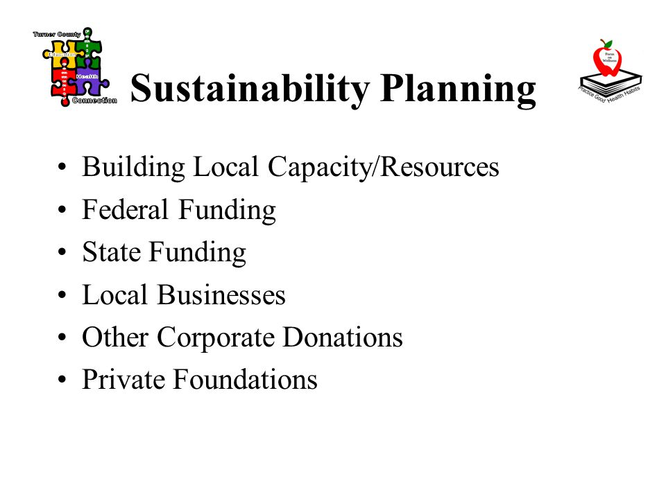 Sustainability Planning Building Local Capacity/Resources Federal Funding State Funding Local Businesses Other Corporate Donations Private Foundations