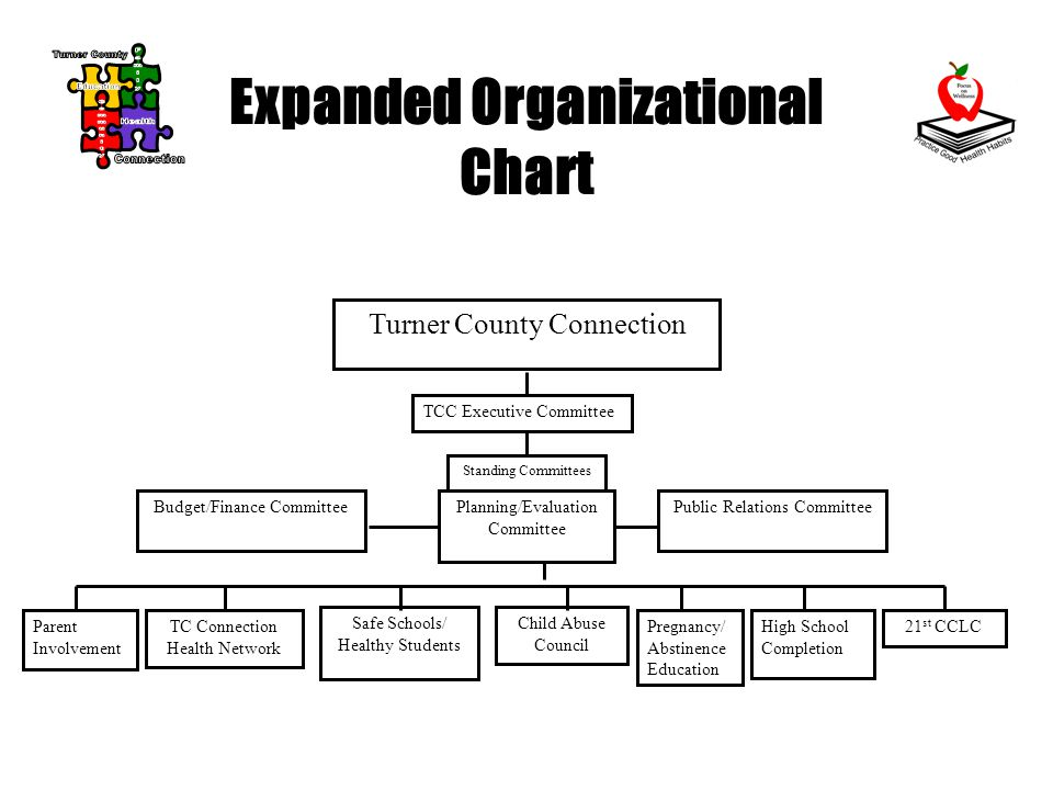 Expanded Organizational Chart Turner County Connection TCC Executive Committee Standing Committees Budget/Finance CommitteePlanning/Evaluation Committee Public Relations Committee Parent Involvement TC Connection Health Network Safe Schools/ Healthy Students Child Abuse Council Pregnancy/ Abstinence Education High School Completion 21 st CCLC