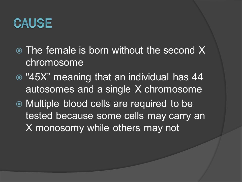  Female is missing an X-chromosome