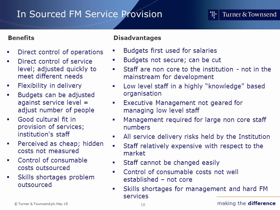 © Turner & Townsend plc May 15 making the difference In Sourced FM Service Provision  Direct control of operations  Direct control of service level; adjusted quickly to meet different needs  Flexibility in delivery  Budgets can be adjusted against service level = adjust number of people  Good cultural fit in provision of services; institution s staff  Perceived as cheap; hidden costs not measured  Control of consumable costs outsourced  Skills shortages problem outsourced  Budgets first used for salaries  Budgets not secure; can be cut  Staff are non core to the institution - not in the mainstream for development  Low level staff in a highly knowledge based organisation  Executive Management not geared for managing low level staff  Management required for large non core staff numbers  All service delivery risks held by the Institution  Staff relatively expensive with respect to the market  Staff cannot be changed easily  Control of consumable costs not well established – not core  Skills shortages for management and hard FM services 18 BenefitsDisadvantages