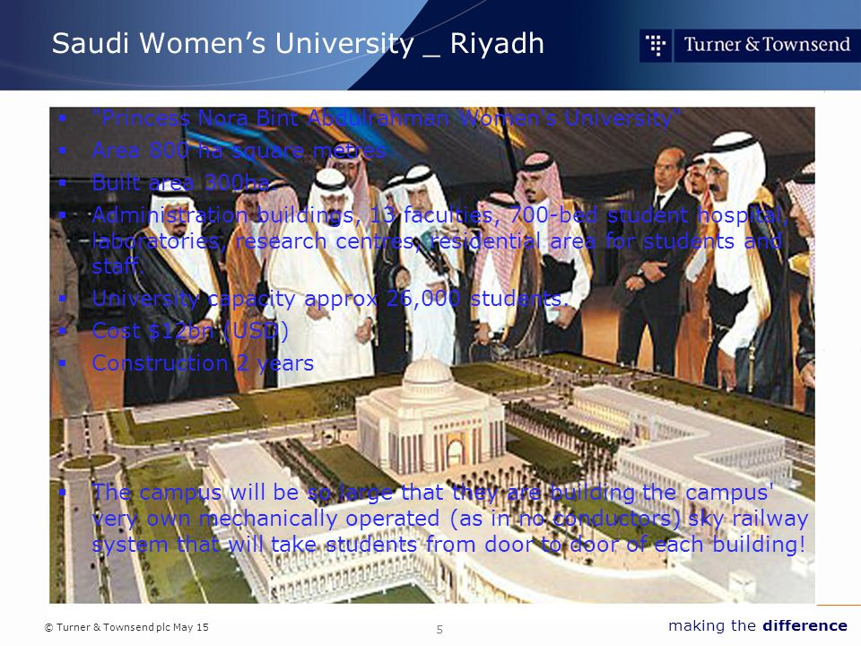 © Turner & Townsend plc May 15 making the difference Saudi Women's University _ Riyadh  Princess Nora Bint Abdulrahman Women s University  Area 800 ha square metres  Built area 300ha.