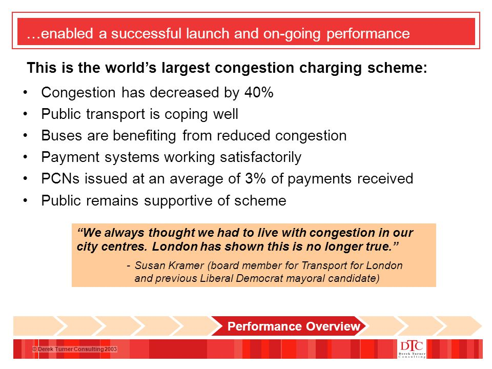 © Derek Turner Consulting 2003 …enabled a successful launch and on-going performance Congestion has decreased by 40% Public transport is coping well Buses are benefiting from reduced congestion Payment systems working satisfactorily PCNs issued at an average of 3% of payments received Public remains supportive of scheme We always thought we had to live with congestion in our city centres.