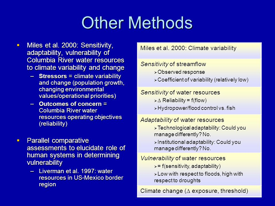 Other Methods  Miles et al. 2000: Sensitivity, adaptability, vulnerability of Columbia River water resources to climate variability and change –Stres