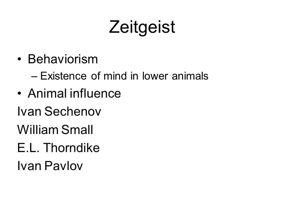 Zeitgeist Behaviorism –Existence of mind in lower animals Animal influence Ivan Sechenov William Small E.L.