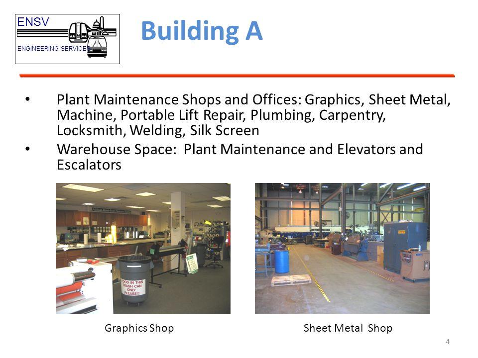 5 Building A ENSV ENGINEERING SERVICES Carpentry Shop Machine Shop Portable Lift Shop LocksmithPlumbing Shop